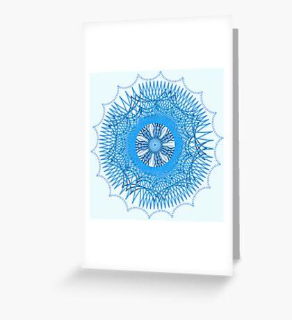 Blue Spirograph Greeting Card