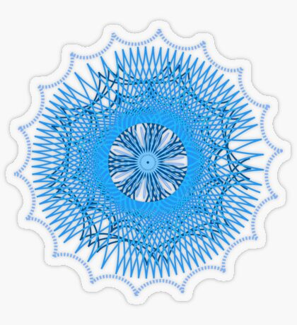 Blue Spirograph Transparent Sticker