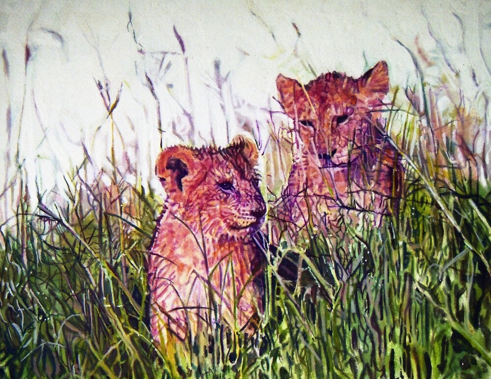 Lion cubs. by Michael Haslam