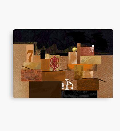 """Orange 7"" - Abstract structure on dark background. Canvas Print"