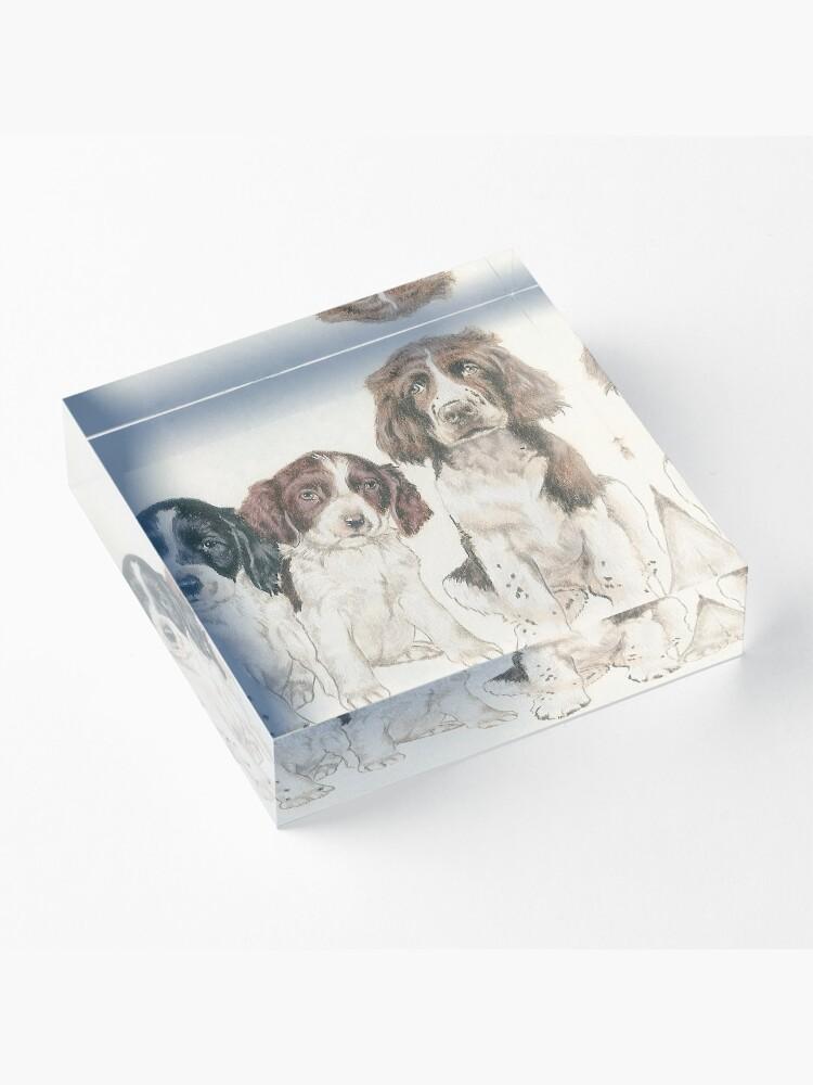 Alternate view of English Springer Spaniel Puppies Acrylic Block