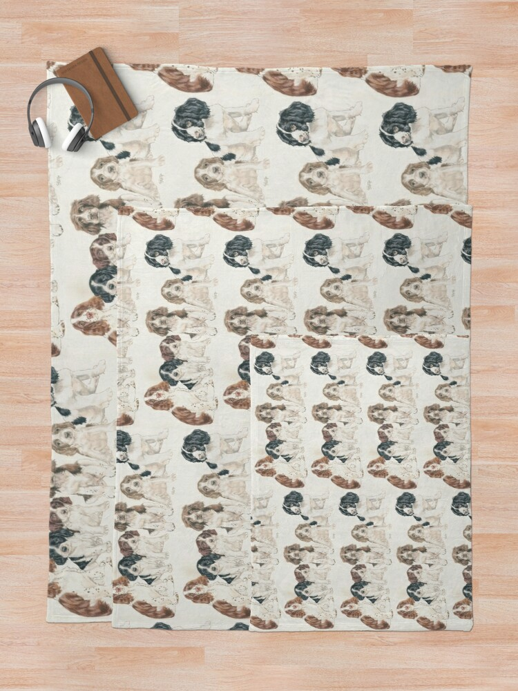 Alternate view of English Springer Spaniel Puppies Throw Blanket