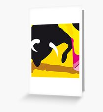 Bull and bullfighter. Corrida. Greeting Card