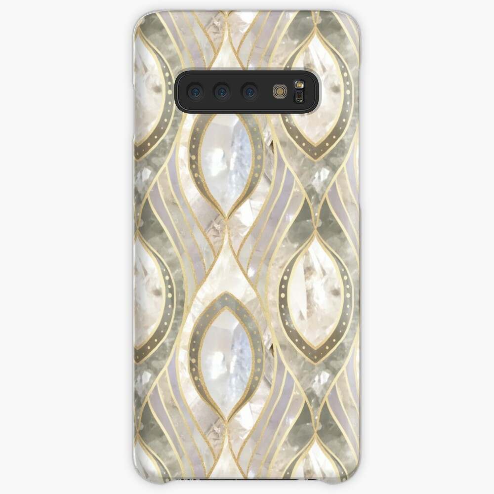 White Quartz & Gold Elegant Pattern Samsung Galaxy Snap Case