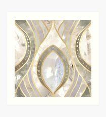 White Quartz & Gold Elegant Pattern Art Print
