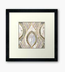 White Quartz & Gold Elegant Pattern Framed Print