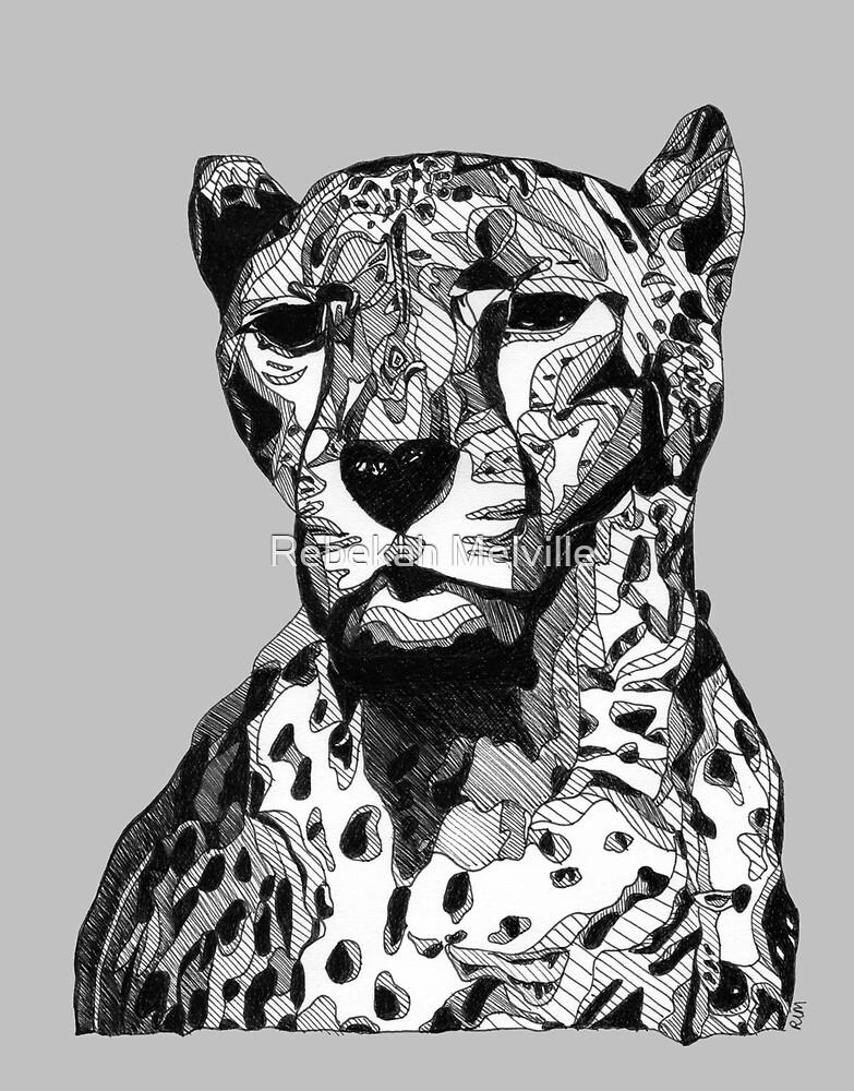 Cheetah Black Tonal Fineliner Drawing by Rebekah Melville