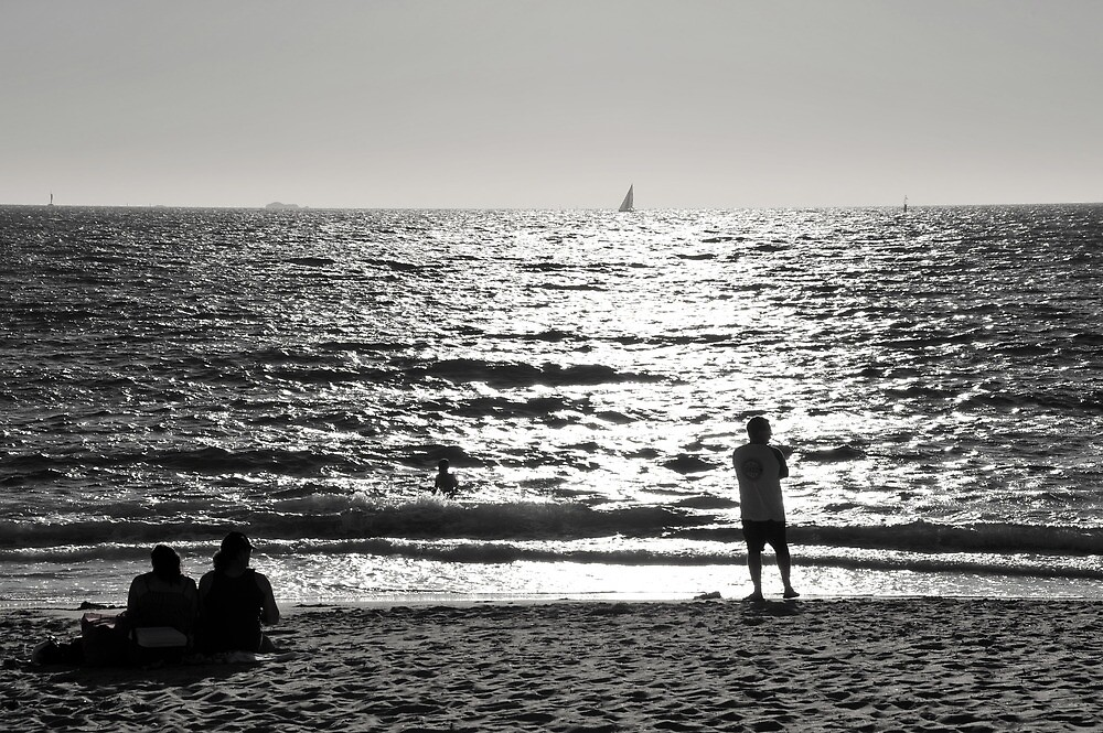 Bather's beach afternoon. by James  Kerr