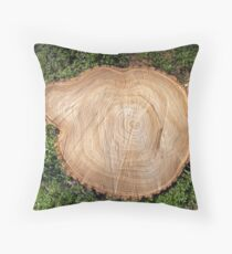 Fresh cut tree stump Throw Pillow