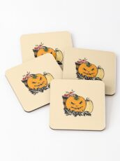 Halloween Gift and Decor - Scary Pumpkin Harvest - All Hallows Eve Present Coasters