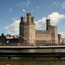 Caernarfon Castle Showing the Swing Bridge by AnnDixon