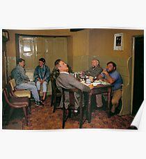 Cider drinkers, Somerset, England, 1980s Poster