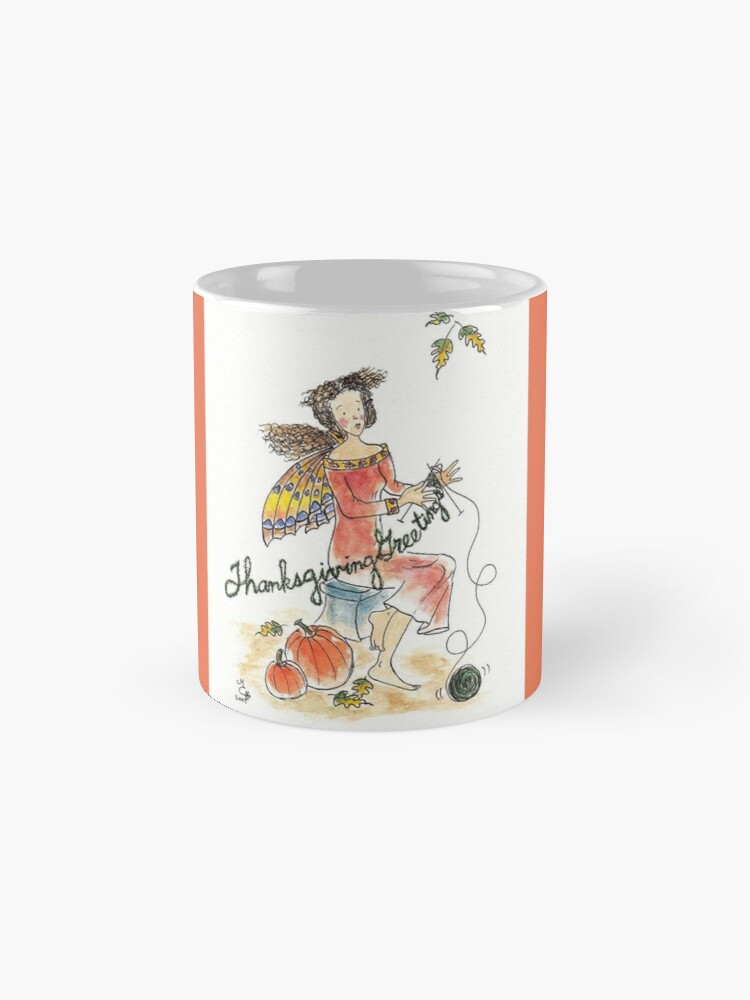 Alternate view of Thanksgiving Greetings - The Knittington Fairies Mug