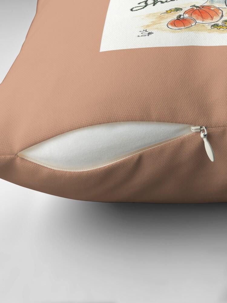 Alternate view of Thanksgiving Greetings - The Knittington Fairies Throw Pillow