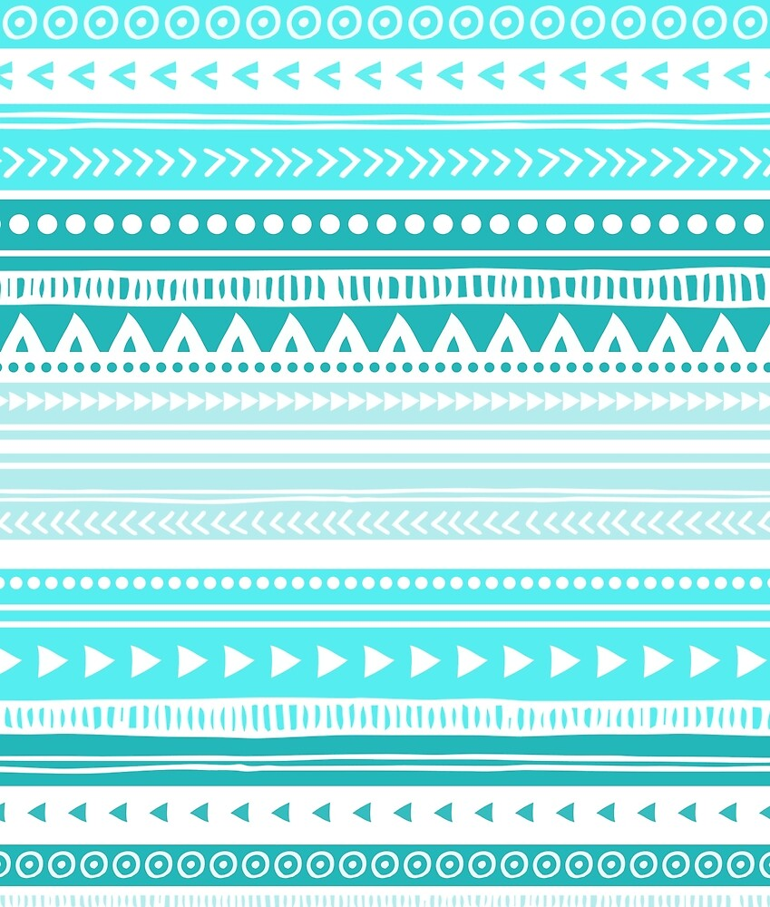 Blue Aqua Teal White tribal pattern by dreamingmind
