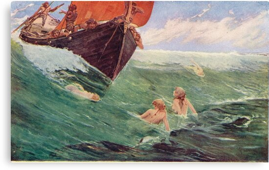 Mermaids luring Sailors to their death on the rocks by artfromthepast