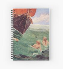 Mermaids luring Sailors to their death on the rocks Spiral Notebook