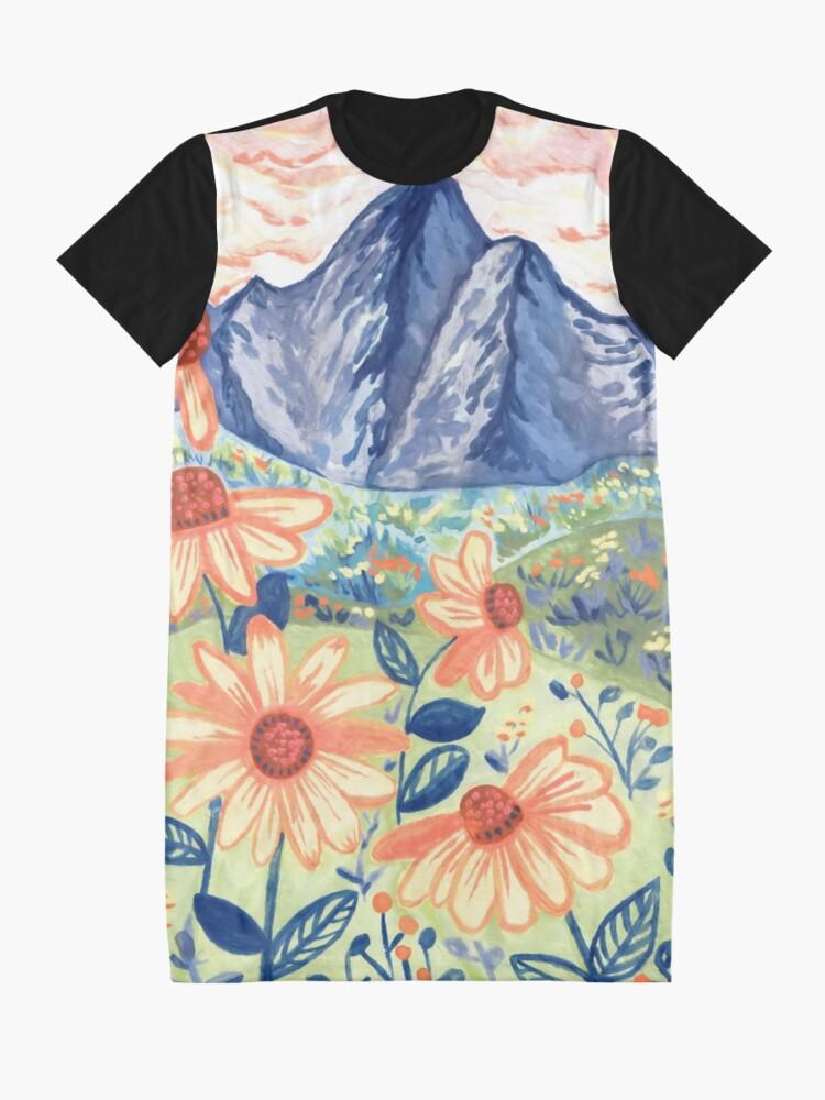 Alternate view of Daisy Gouache Mountain Landscape  Graphic T-Shirt Dress