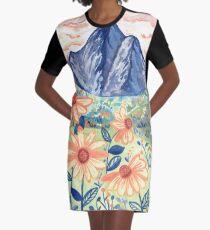 Daisy Gouache Mountain Landscape  Graphic T-Shirt Dress