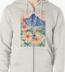 Daisy Gouache Mountain Landscape  Zipped Hoodie