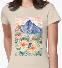 Daisy Gouache Mountain Landscape  Fitted T-Shirt