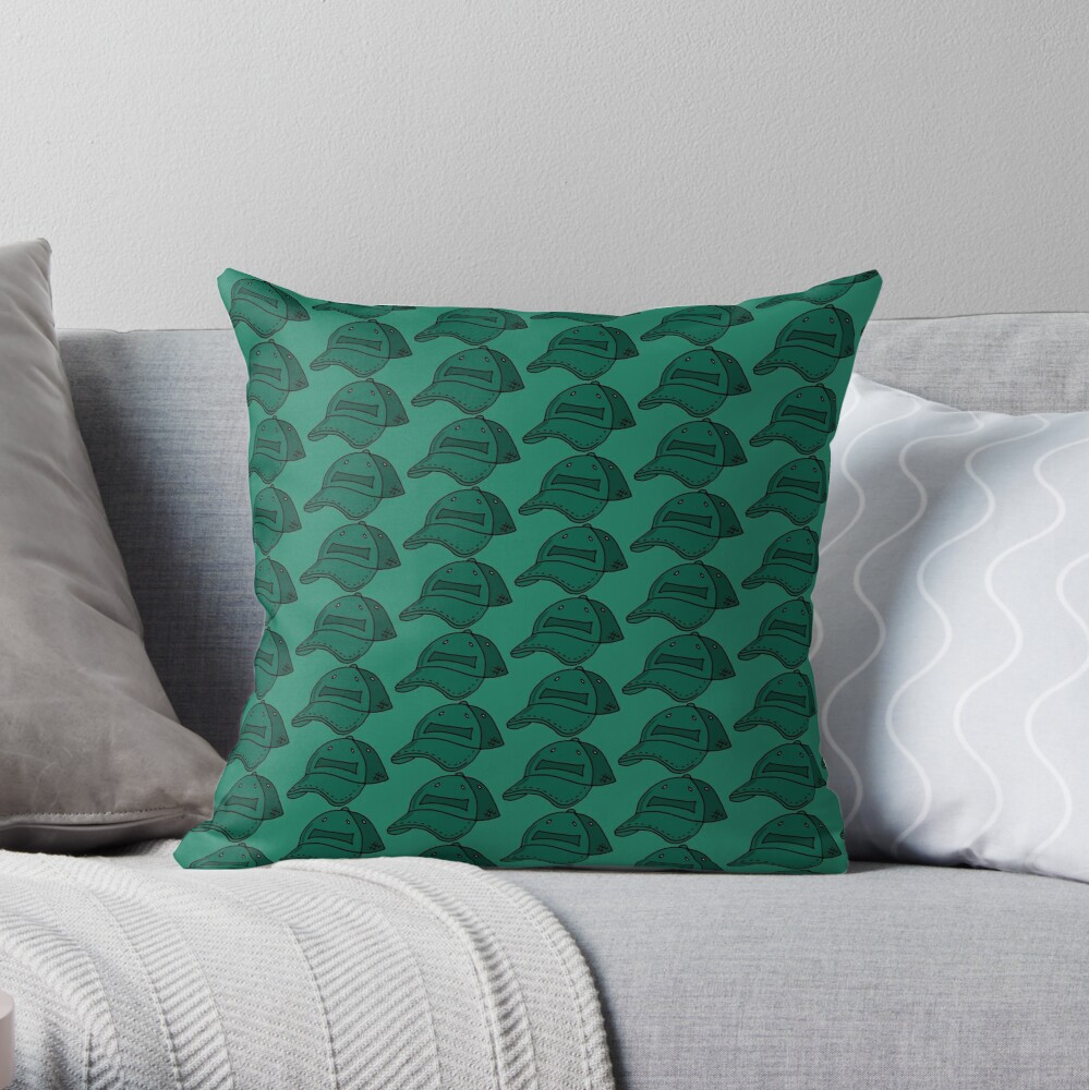 Bottle Green Baseball Caps Repeat Pattern Throw Pillow