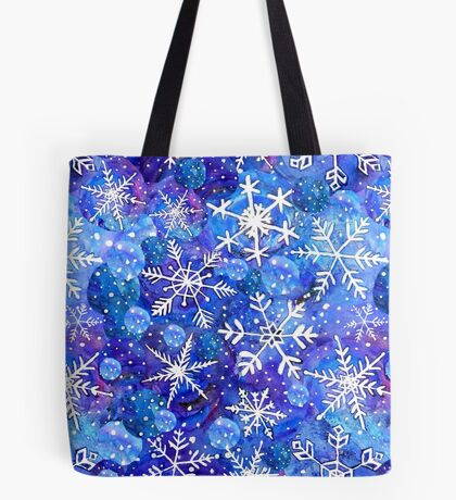 Christmas snowflake midnight sky on blue , painted in watercolor Tote Bag