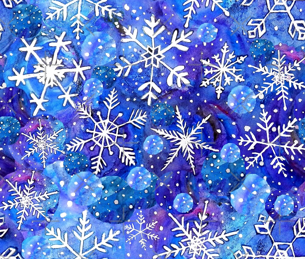 Christmas snowflake midnight sky on blue , painted in watercolor by MagentaRose