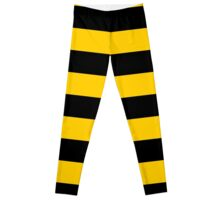 Yellow And Black Striped Leggings