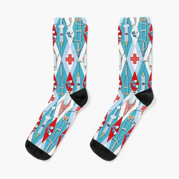 Doctors Medicine Medical Pills Illustration Socks! Original Art!  Socks