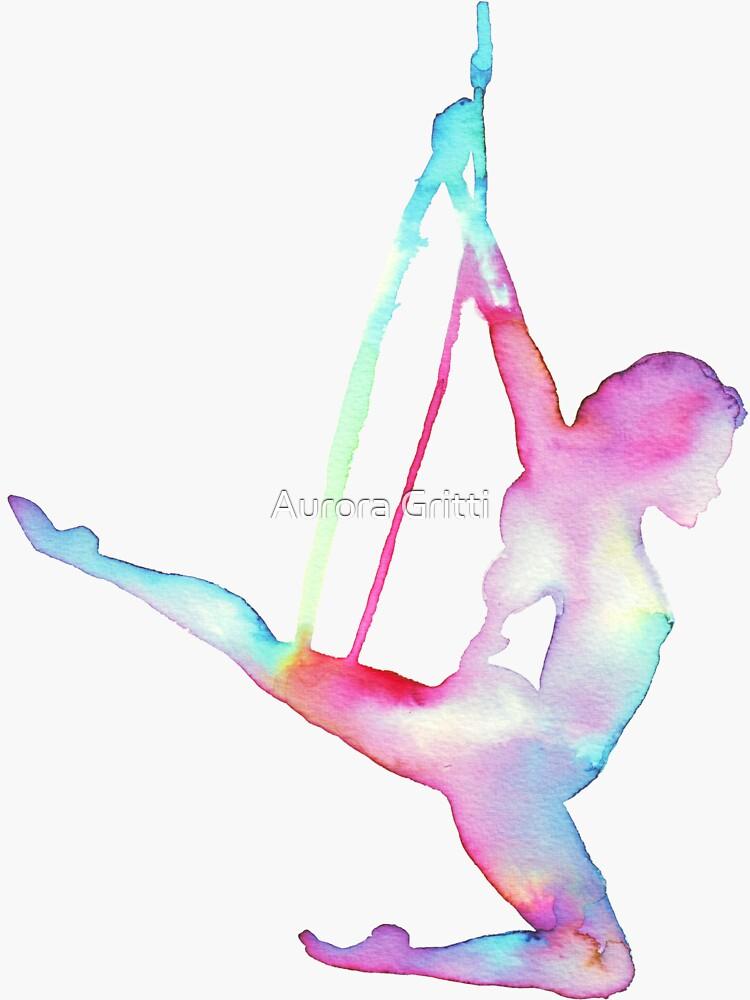 Rainbow Silhouette Aerial Lyra Hoop by balgrittella