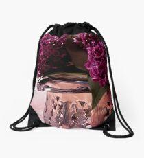 Lilac And Silver  Drawstring Bag