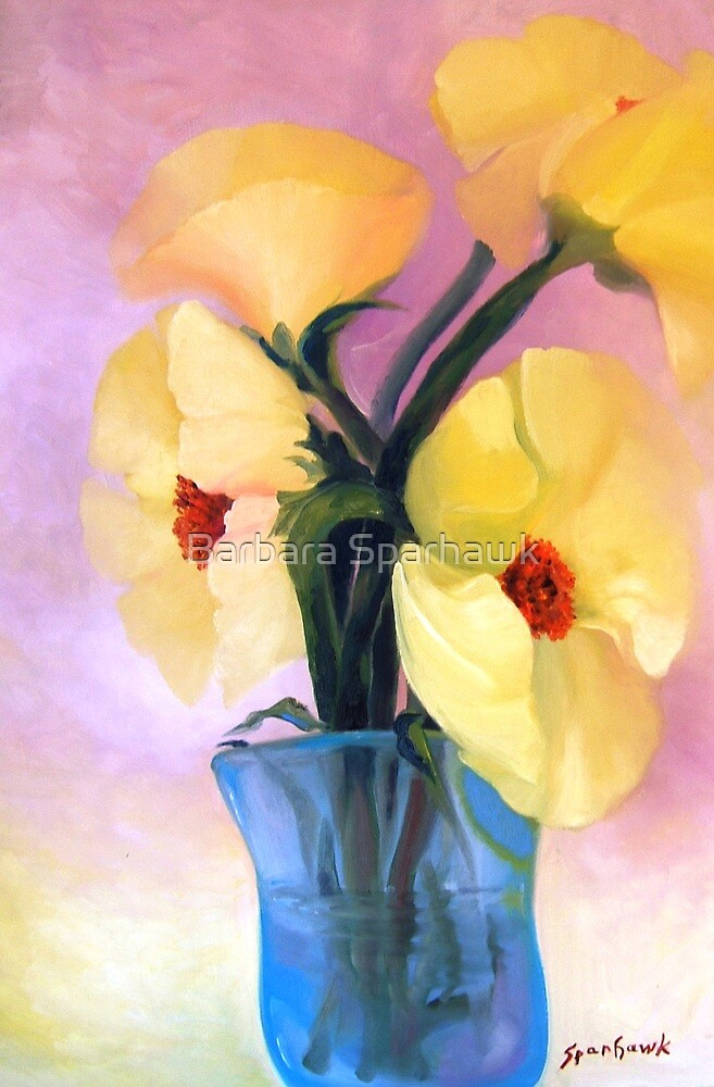 Yellow Poppies in Blue Glass by Barbara Sparhawk