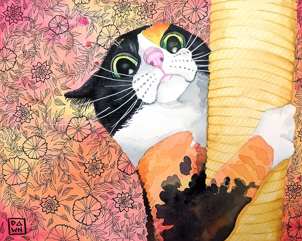 Colorful calico cat painting in an energetic pop art style with floral background by Dawn Pedersen