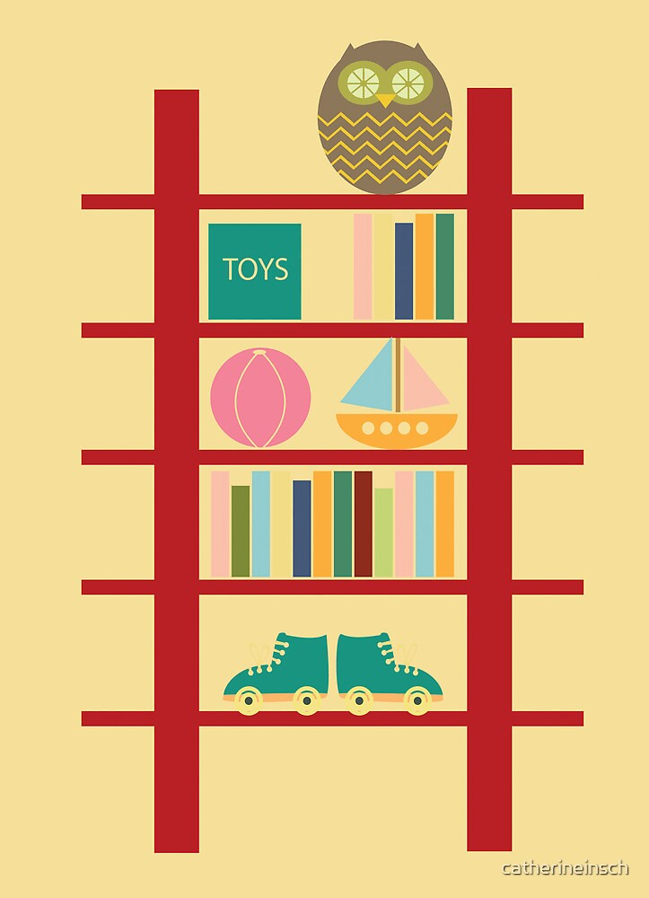 Blank greeting birthday card cute owl toy shelf by catherineinsch