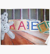 Teddy Bear and Blocks Poster