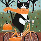 Autumn Bicycle Ride Tuxedo Cat by Ryan Conners