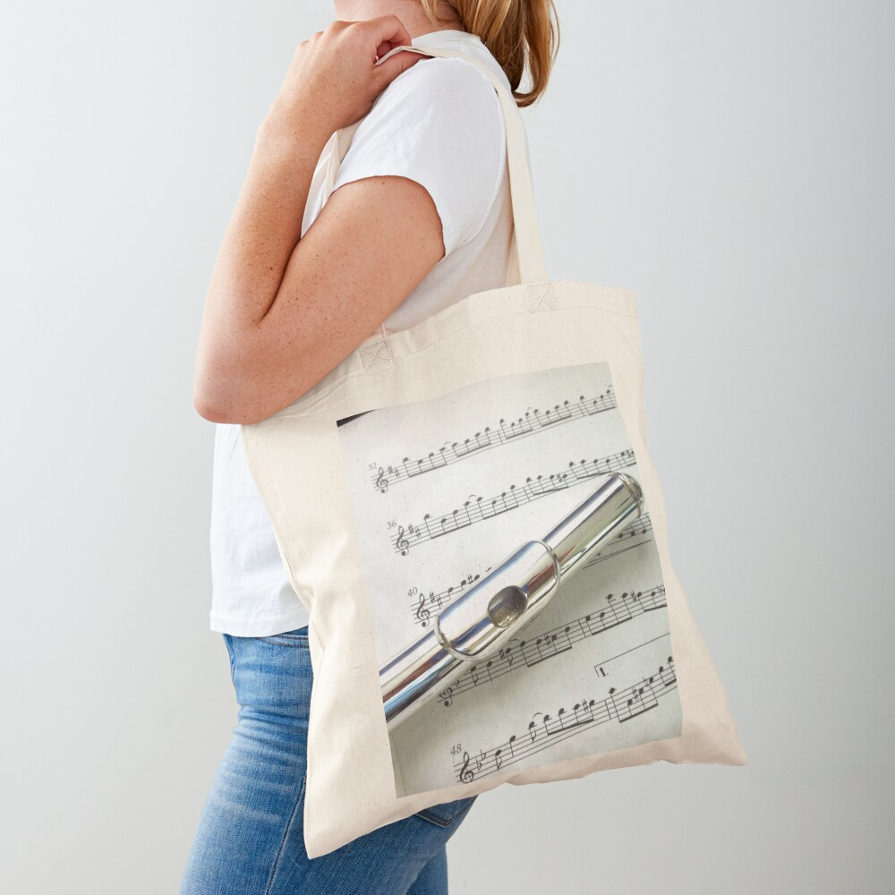Pause for Breath - Flute and Sheet Music Tote Bag