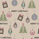 New year, Christmas design, vintage, retro, beige, paper craft, craft by fuzzyfox