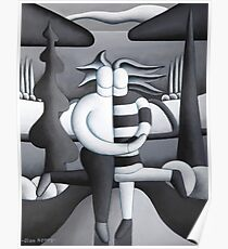 Black and white lovers by lake Poster