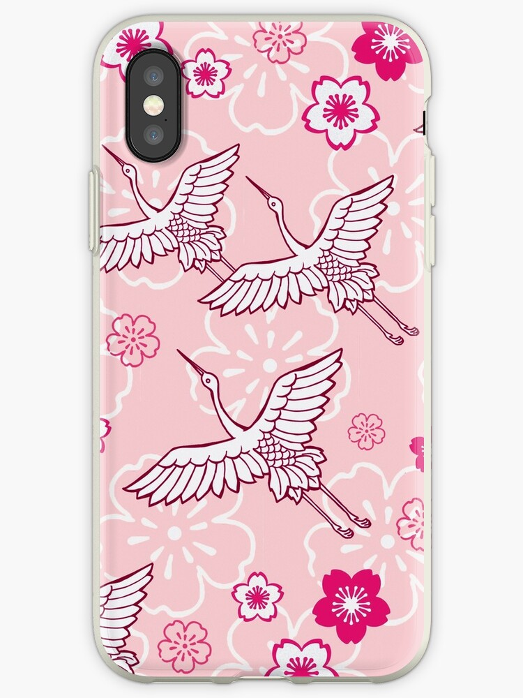 Japanese pink ciconia bird pattern by timnagreen