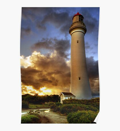 Glow on the Lighthouse, Airey's Inlet Poster