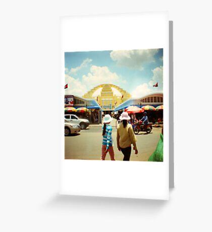 new market, phnom penh, cambodia Greeting Card