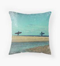 surfers at lagoon 1 Throw Pillow