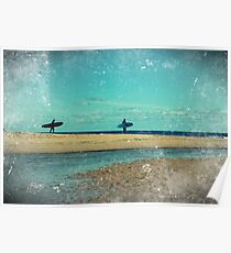 surfers at lagoon 1 Poster