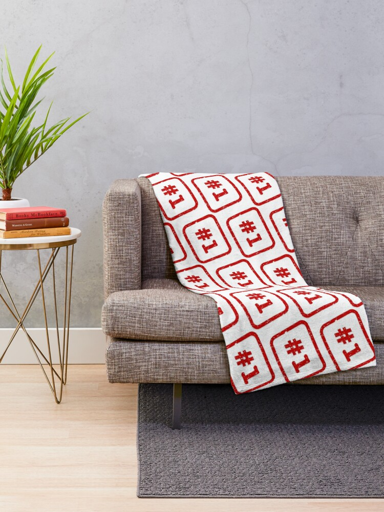 Alternate view of Number 1 Stamp Throw Blanket