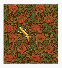 Yellow lizard on flowers Photographic Print