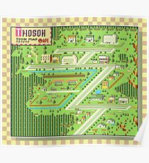 Twoson Town Map - Earthbound/Mother 2 Poster