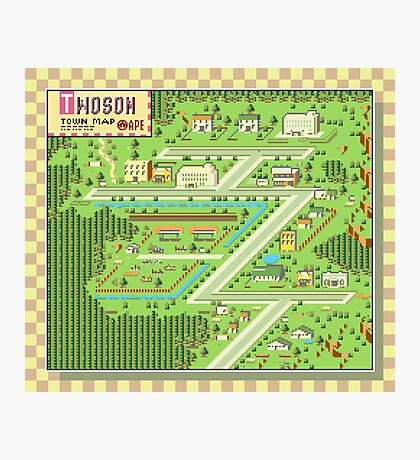 Twoson Town Map - Earthbound/Mother 2 Photographic Print