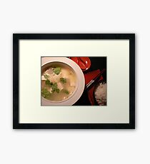 rice & tofu cooking  Framed Print